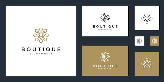 Plantilla de monograma floral simple y elegante, diseño de logotipo de línea elegante arte, ilustración vectorial