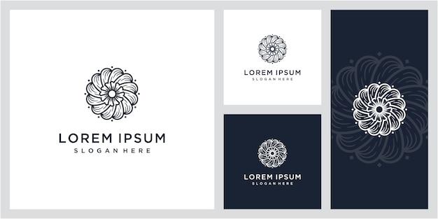 Plantilla de monograma floral simple y elegante vintage, diseño de logotipo