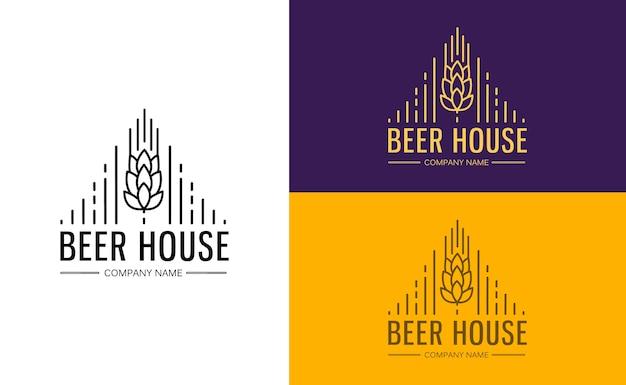 Plantilla de monograma de gráficos de línea con logotipos, emblemas para cervecería, bar, pub, empresa cervecera, cervecería, taberna