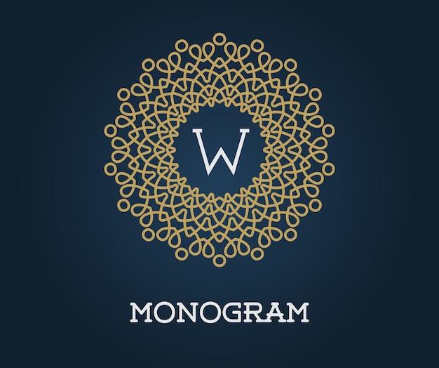 Plantilla de monograma con ilustración de letra oro de calidad elegante premium sobre azul marino