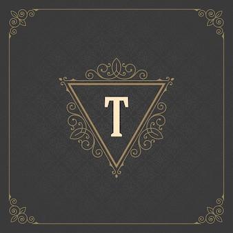 Plantilla de monograma de logotipo vintage, adornos florales elegantes dorados con borde de marco adornado