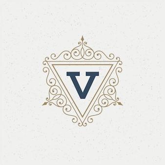 Plantilla de monograma de logotipo vintage elegante florece adornos con borde de marco adornado