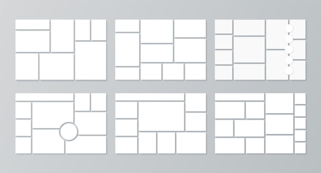 Plantilla de moodboard. collage de fotos. ilustración vectorial. establecer tablas de estado de ánimo.