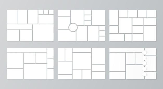 Plantilla de moodboard. cuadrícula de collage. vector. conjunto de tableros de humor en blanco. marcos de fotos de mosaico