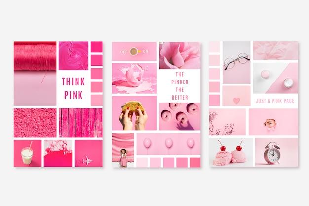 Plantilla de moodboard en rosa brillante