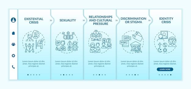 Plantilla móvil de la aplicación de incorporación de problemas religiosos