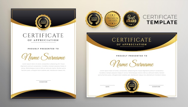 Plantilla multipropósito de certificado de diploma negro y dorado premium
