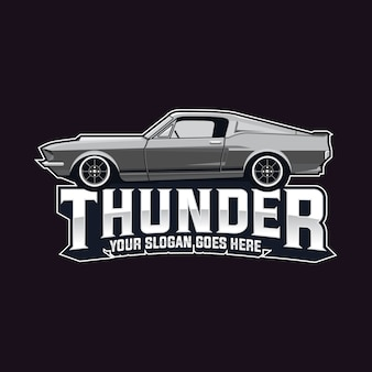 Plantilla muscle car logo vector