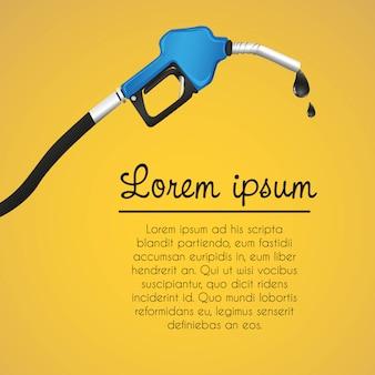 Plantilla naranja del dispensador de gasolina con fugas de fondos