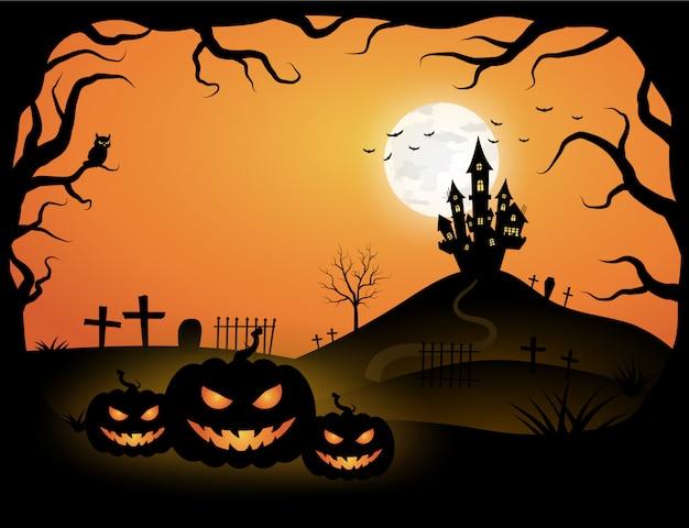 Plantilla naranja de halloween en vista del cielo nocturno con árbol oscuro, calabaza, castillo y luna llena.