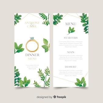 Plantilla de naturaleza de menú de boda en acuarelas