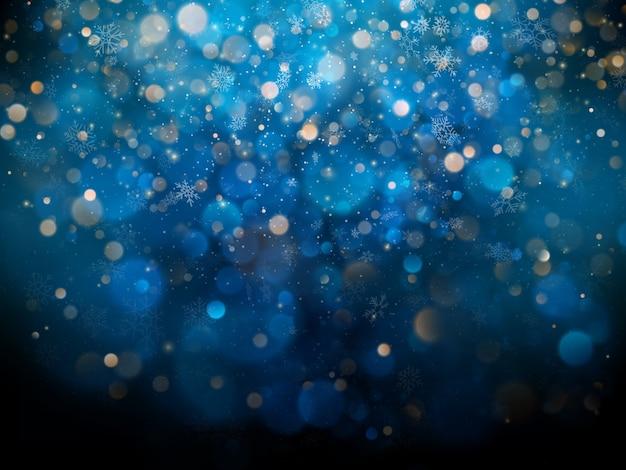 Plantilla de navidad y año nuevo con copos de nieve borrosas blancas, resplandor y destellos sobre fondo azul.