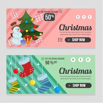 Plantilla de navidad de banner web con estilo plano de caja de regalo presente