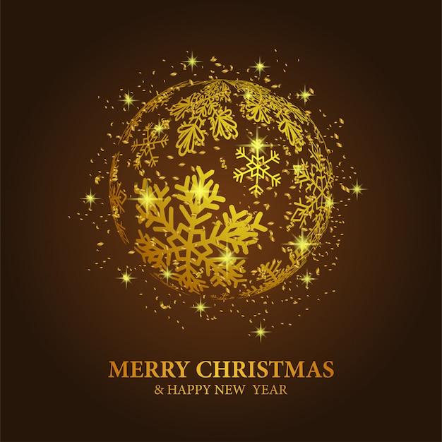 Plantilla de navidad con bola de oro copo de nieve
