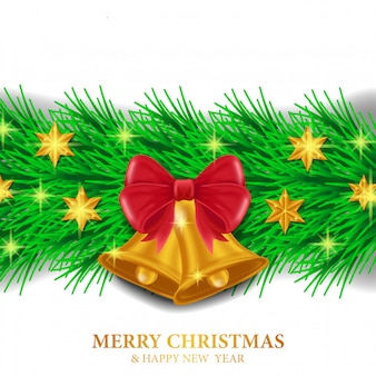 Plantilla navideña con decoración de guirnalda.