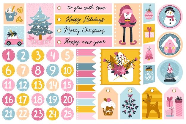 Plantilla navideña y etiquetas para regalos con personajes lindos y elementos festivos en diferentes formas.