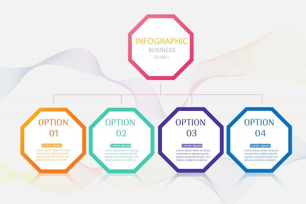Plantilla de negocio 4 opciones infografía gráfico elementos