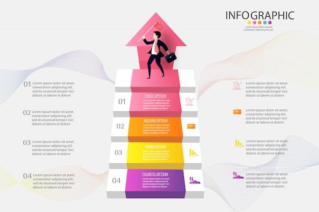 Plantilla de negocio 4 opciones o pasos infografía elemento gráfico.