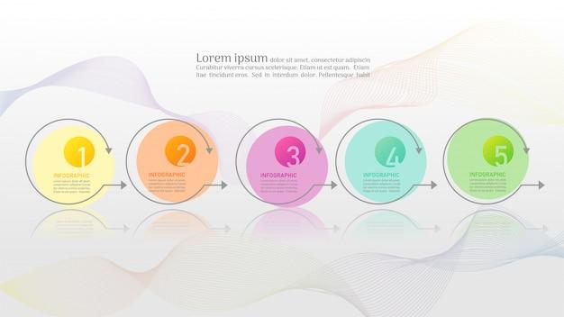 Plantilla de negocio 5 opciones o pasos elemento de gráfico infográfico.