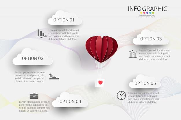 Plantilla de negocio 5 opciones o pasos infografía elemento gráfico.