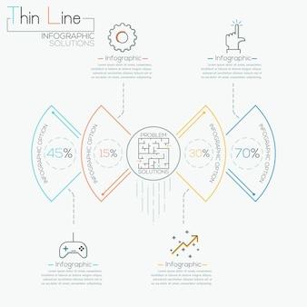 Plantilla de negocio círculo moderno en estilo de línea fina
