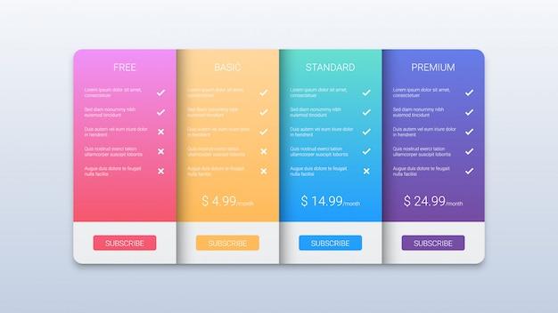 Plantilla de negocio colorida tabla de precios con tres opciones
