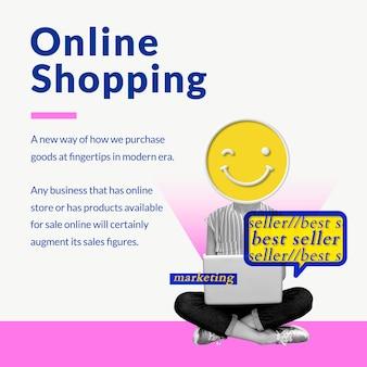 Plantilla de negocio de compras en línea con medios de marketing creativos mezclados