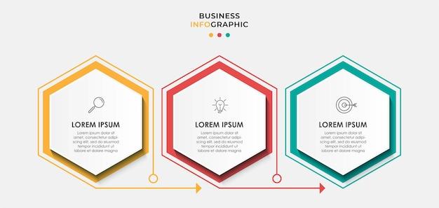 Plantilla de negocio de diseño de infografía vectorial con iconos y 3 opciones o pasos. se puede utilizar para diagramas de procesos, presentaciones, diseño de flujo de trabajo, pancartas, diagramas de flujo, gráficos de información