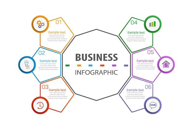 Plantilla de negocio de diseño infográfico con 6 opciones o pasos.