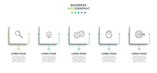 Plantilla de negocio de diseño infográfico con iconos y 5 cinco opciones o pasos