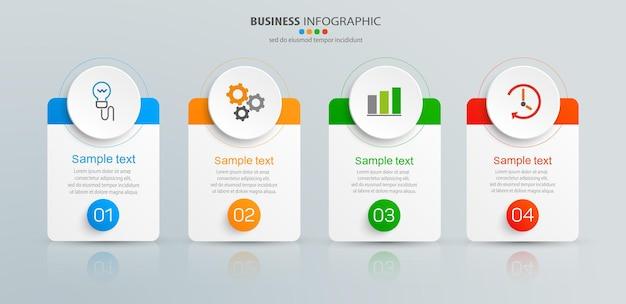 Plantilla de negocio de infografía con 4 opciones.