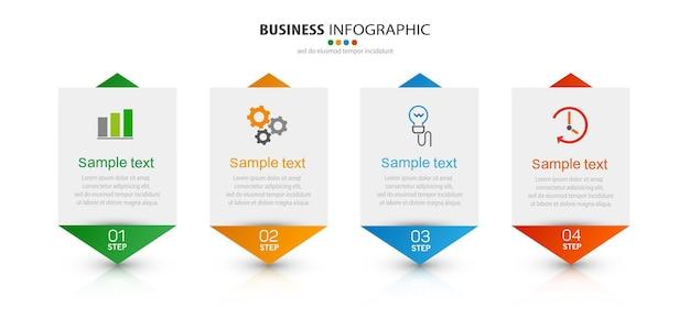 Plantilla de negocio de infografía con 4 pasos