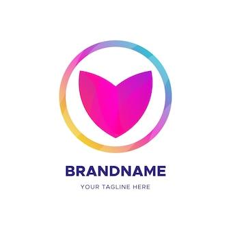 Plantilla de negocio de logotipo de forma de corazón abstracto