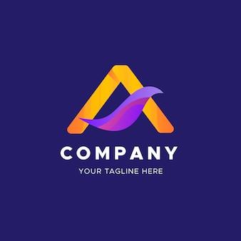 Plantilla de negocio de logotipo de hoja abstracta curvada