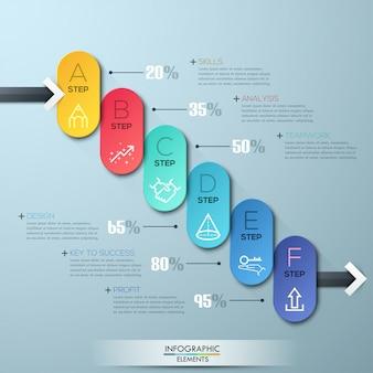 Plantilla de negocio moderno círculo estilo opciones infografía