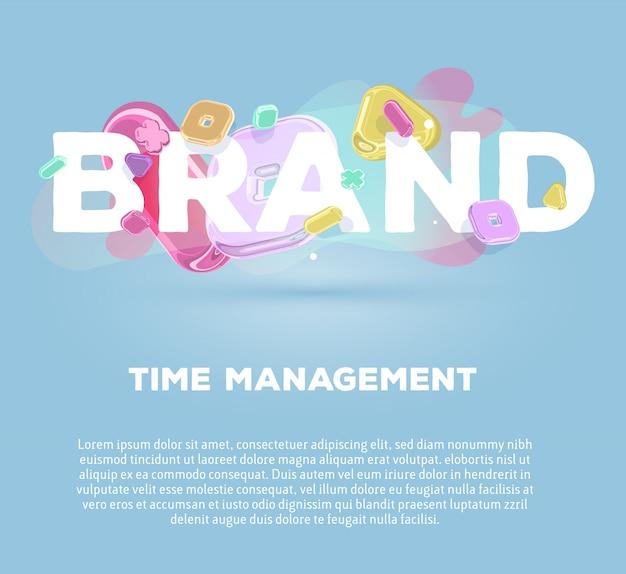 Plantilla de negocio moderno con elementos de cristal brillante y marca de palabra sobre fondo azul con título y texto.
