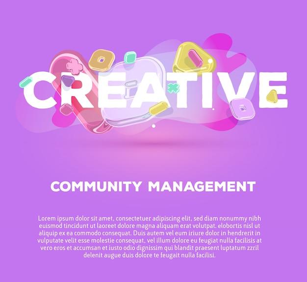 Plantilla de negocio moderno con elementos de cristal brillante y palabra creativa sobre fondo morado con título y texto.
