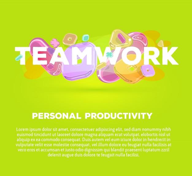 Plantilla de negocio moderno con elementos de cristal brillante y trabajo en equipo de palabra sobre fondo verde con sombra, título y texto.