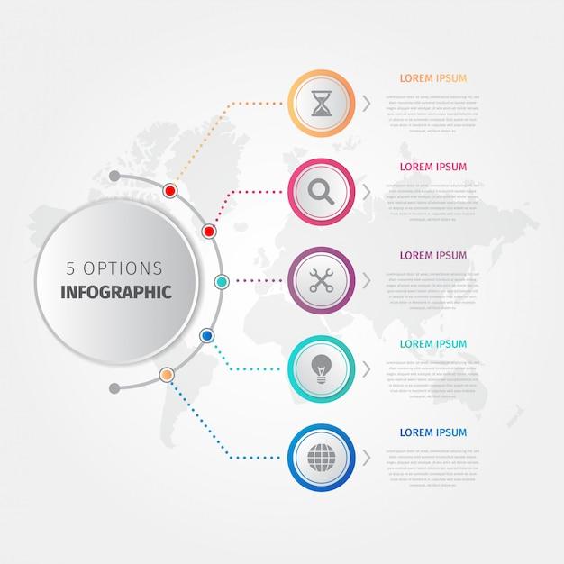 Plantilla de negocio moderno pasos infografía