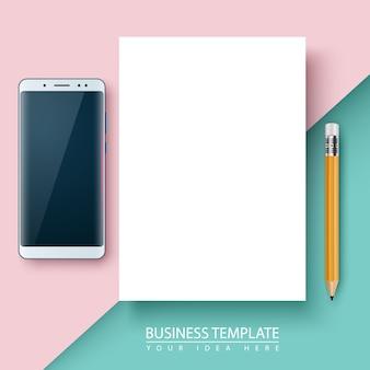 Plantilla de negocio papel, bolígrafo teléfono inteligente