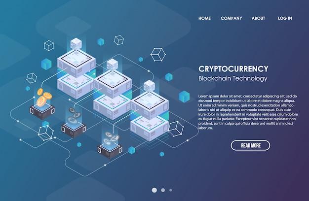 Plantilla de negocio de red blockchain. criptomoneda y composición isométrica de blockchain. tecnología abstracta minera. sistema de dinero digital. diseño para web y aplicación.