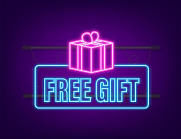 Plantilla de negocio con regalo gratis rojo para diseño de banner. icono de neón. plantilla de negocio de vector. presente icono de caja de regalo.