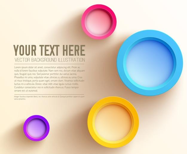 Plantilla de negocio web abstracto con texto y coloridos círculos en blanco