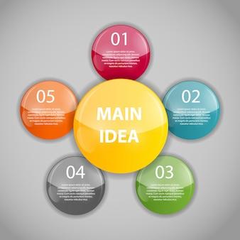 Plantilla de negocios de infografía con cinco pasos