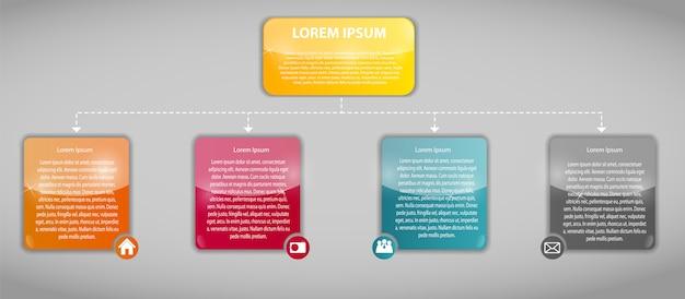 Plantilla de negocios de infografía con cuatro pasos