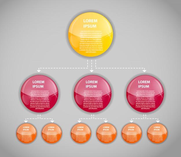 Plantilla de negocios de infografía con tres pasos