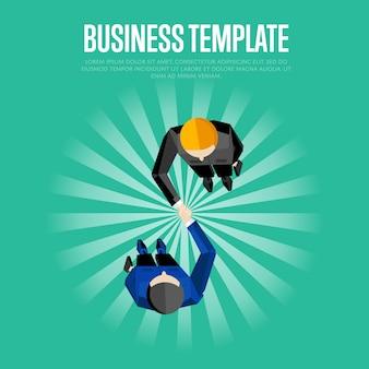 Plantilla de negocios vista superior socios apretón de manos