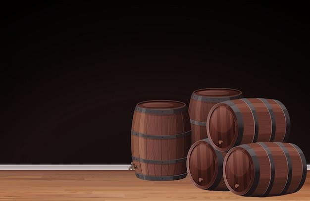 Una plantilla negra y barril de vino