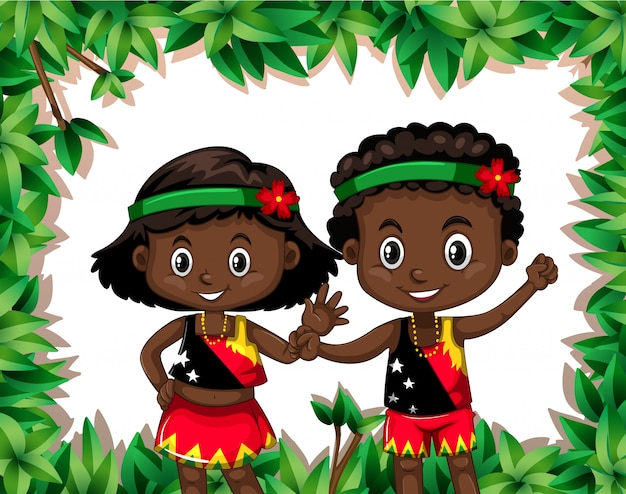 Plantilla de niños en la naturaleza de papua nueva guinea