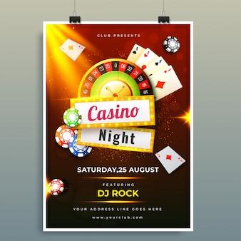Plantilla de noche de casino o diseño de volante con fichas, monedas, jugando